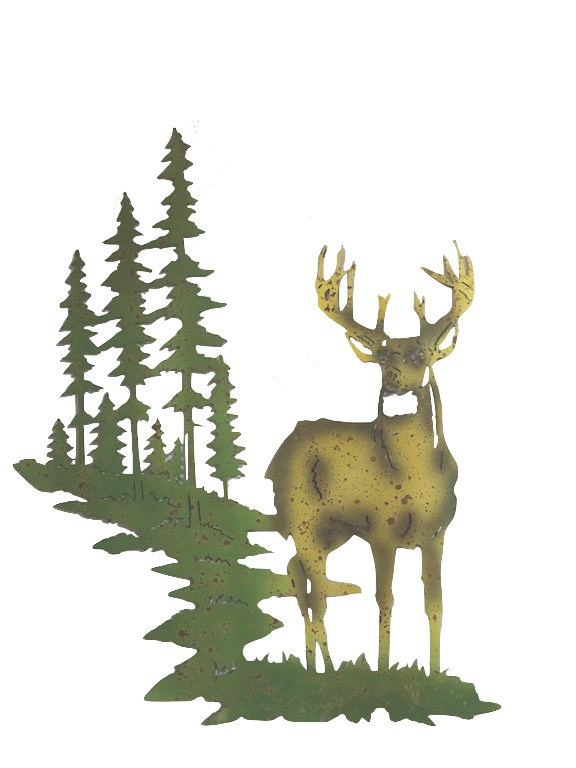 iron wall plate deer and tree