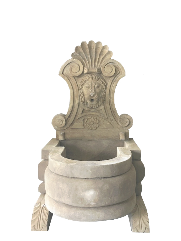 stone wall fountain lion head antique finish